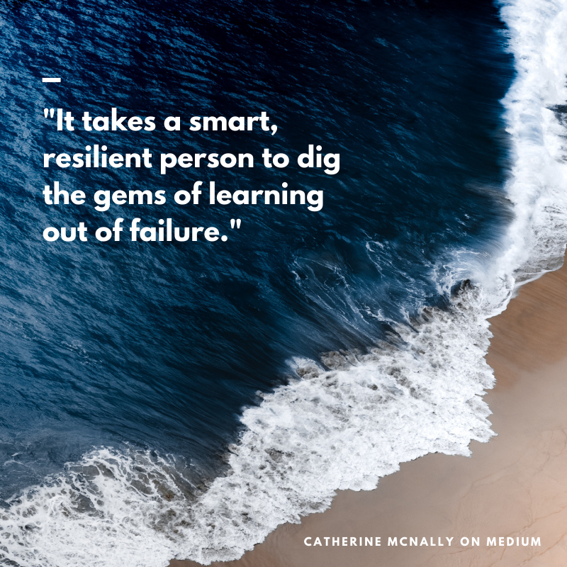 "A background image of a blue wave crashing on sand and the quote ""It takes a smart, resilient person to dig the gems of learning out of failure"""