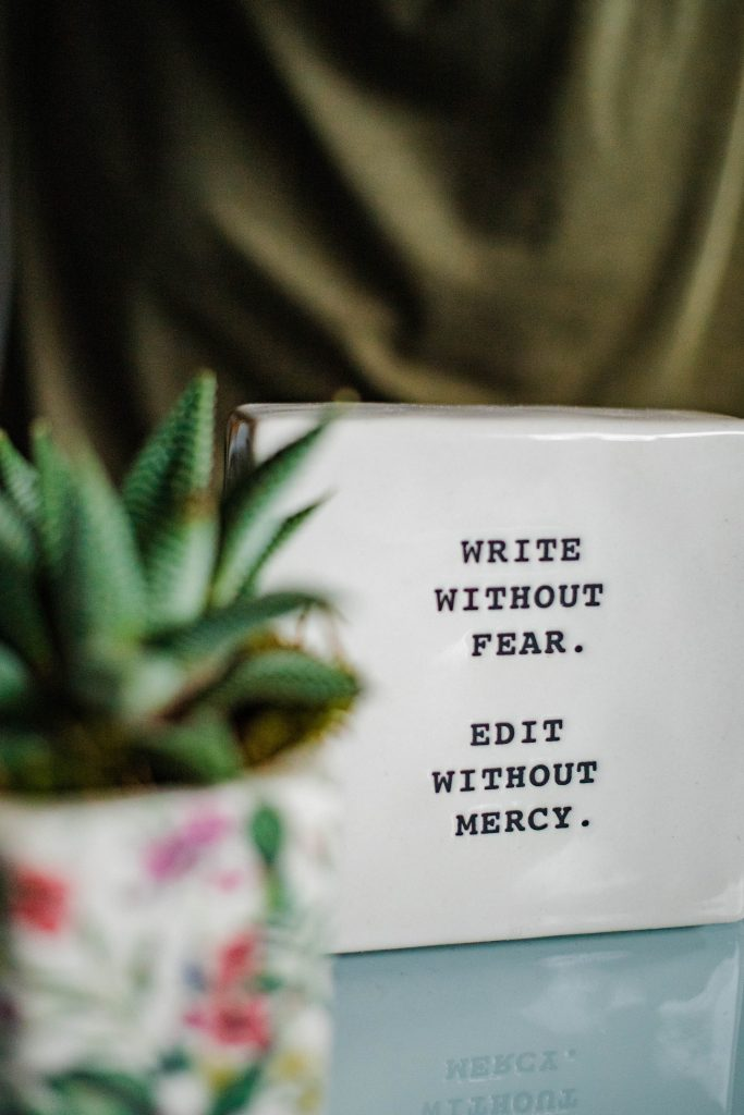 """A planter with a succulent inside reads """"write without fear. edit without mercy."""""""