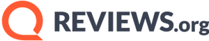 The logo for Reviews.org, which shows an orange speech bubble to the left of the site name