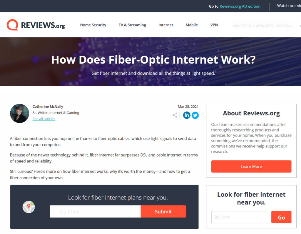 A screenshot preview of my How Does Fiber Work? article
