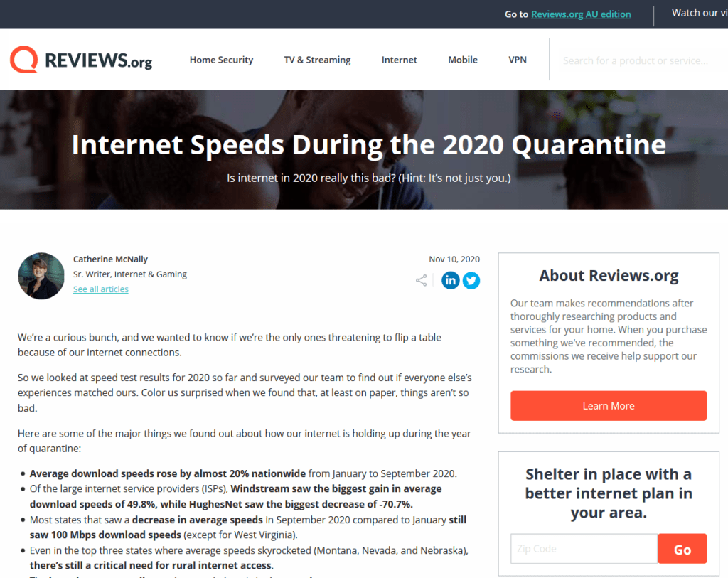 A screenshot preview of my Internet Speeds During Quarantine article on Reviews.org